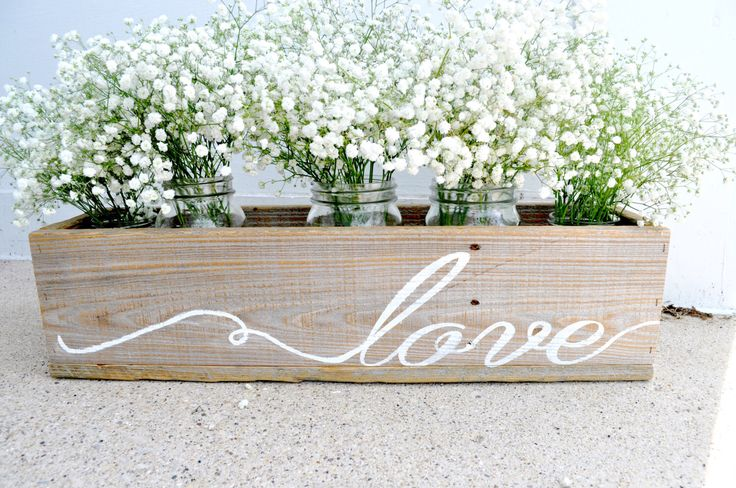 Reclaimed Wooden Planter Natural Wooden Flower Box Hand Painted Love Planter, Wedding Centerpiece, Wooden Wedding Decor, Wedding Love Sign by BitsOfImperfection on Etsy https://www.etsy.com/listing/229867411/reclaimed-wooden-planter-natural-wooden
