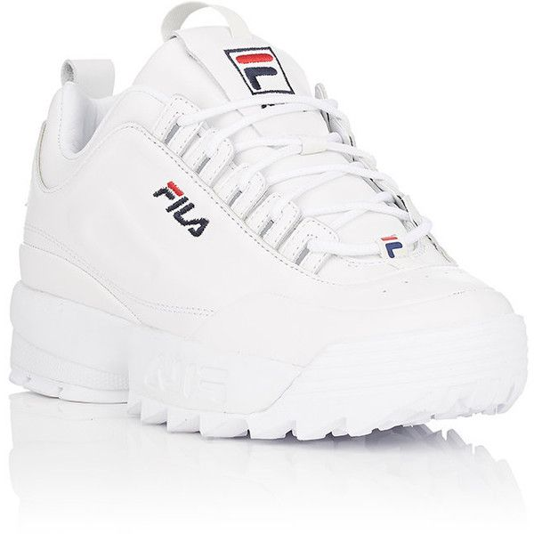 FILA Women's Disruptor 2 Lux Leather Sneakers ($120) ❤ liked on Polyvore featuring shoes, sneakers, perforated leather sneakers, fila sneakers, lightweight shoes, embroidered sneakers and polka dot shoes