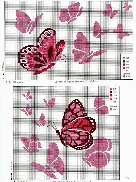 creazioni nausica all'uncinetto e non solo: Schemi farfalle a punto croce