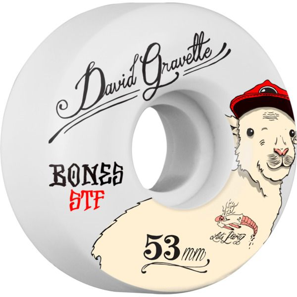Bones Wheels David Gravette STF Baby Lamb White Wheels - new at Warehouse Skateboards! #wskate #newarrivals #skateboarding