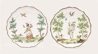 A PAIR OF MILAN (CLERICI) SHAPED FAIENCE PLATES - CIRCA 1765 -  Sale 6453, lot 18. LA MARCHE COMIQUE Porcelain from the Patricia Hart Collection - 5 July 2012, London, King Street. Provenance: With G. & R. Bacchi Antichità, Milan, 1935; With Caviglia Antiquario, Maroggia, Switzerland, from whom they were acquired on 29 March 2004.