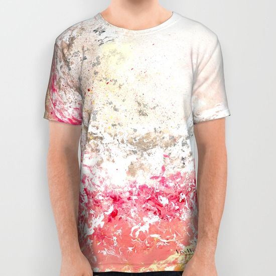 Stunning and unique pink abstract unisex T-shirts for men and women by Vinn Wong | Full collection vinnwong.com | International Shipping | Visit the shop or Pin it For Later!