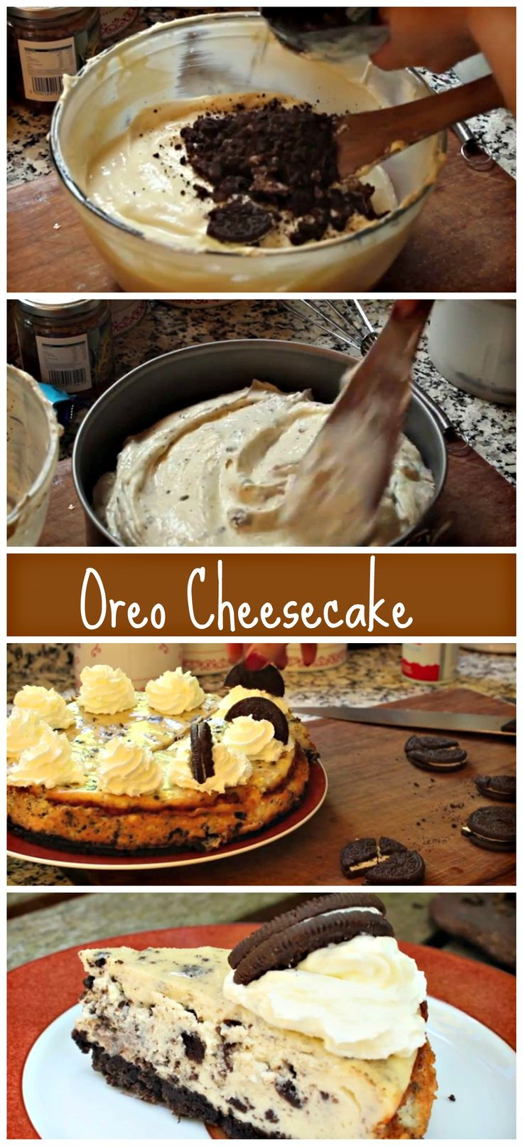 Super decadent Oreo Cheesecake. http://www.ifood.tv/recipe/how-to-make-oreo-cheesecake