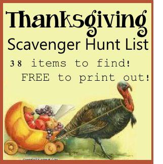Thanksgiving Theme Scavenger Hunt List 38 Fun Thanksgiving