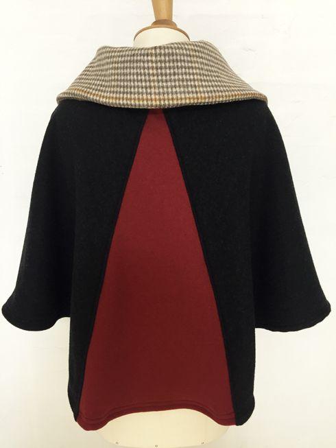 cape femme col croisé noeud laine cachemire liberty mode vintage carreaux hiver couture création british pied de poule
