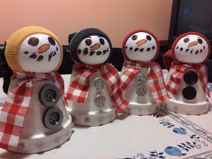 Jak vyrobit vánoční sněhuláčky z květináčů jako dekoraci