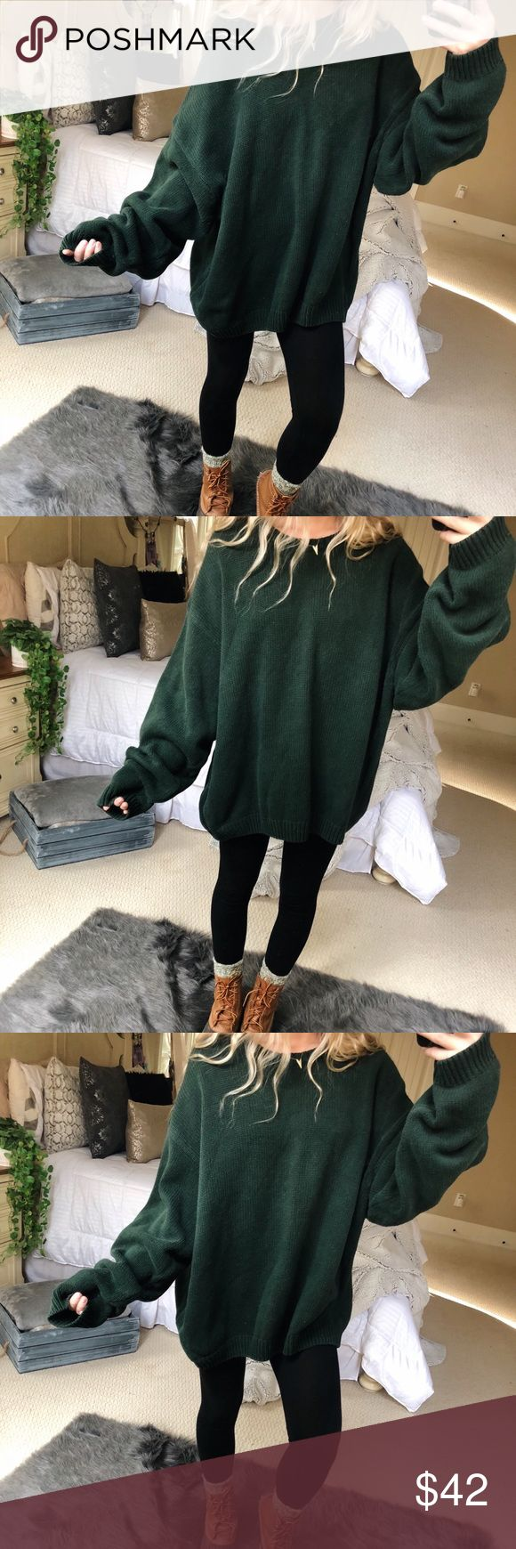 oversized forest green knit beautiful forest green oversized chunky knit sweater. super cozy and cute! fits a size large best 🌲🍂☕️ — • all offers 100% welcomed + encouraged • bundle for a private discount of at least 20% off  • orders guaranteed to ship within 1-2 days unless stated otherwise • ask me any questions if you ever have any! xo Sweaters