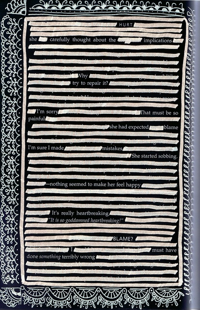 Blackout Poetry in a book re-purposed as an #ArtJournal