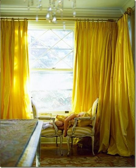 The Most Beautiful Pin Tucked Sunshine Yellow Silk Curtains I Have Ever Seen And French Chairs With Stripped Upholstery