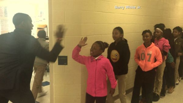"Barry White, Jr., a fifth grade English teacher at Ashley Park PreK-8 School in Charlotte, North Carolina, has an elaborate, personalized handshake with every one of his students. Every. Single. One.""They know when they get to the front door we do our 'good mornings,' and then it's time to go,"" White told ABC News of his enthusiastic greetings. ""I'm always pumped up and then we start doing the moves and that brings them excitement and pumps them up for a high-energy class.""Each handshake is…"