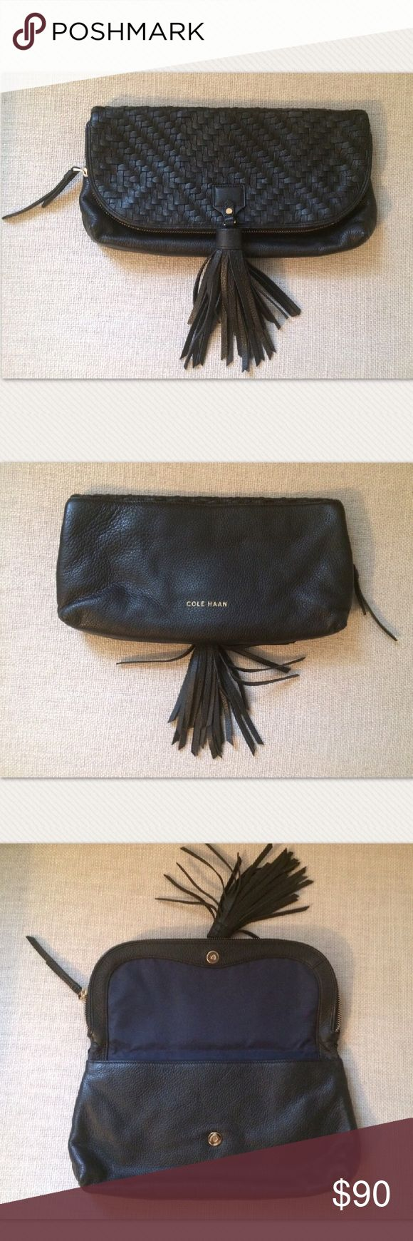Cole Haan Clutch Spacious, black, 100% leather Cole Haan clutch purse with tassel, enjoy! 🌺 Cole Haan Bags Clutches & Wristlets
