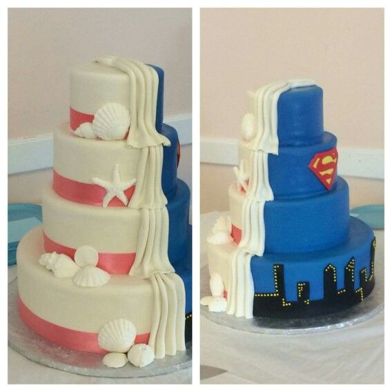 Our super awesome 2 faced wedding cake Sea Shells and Superman. #supermanbeachcake #supermanweddingcake #therotondofamily