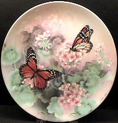 1988 ,Lena Liu Butterfly Collector's Plate,Monarch Butterflies