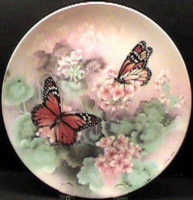 1988 ,Lena Liu Butterfly Collector's Plate,Monarch Butterflies