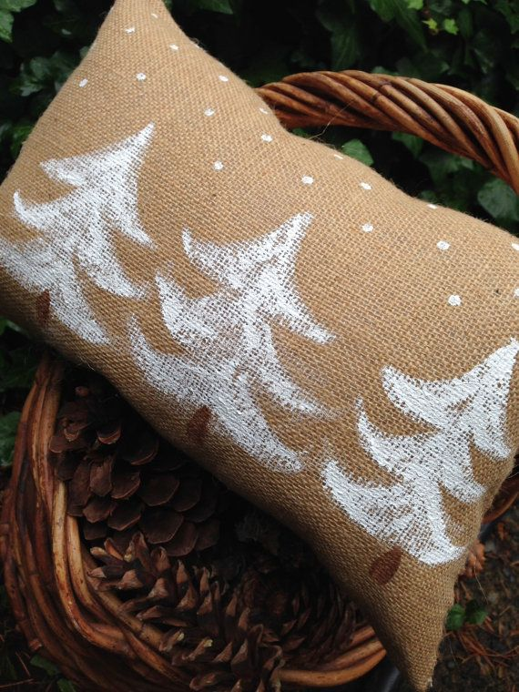 White Pines in Snow Pillow by RamonaOwenDesigns on Etsy, $32.00