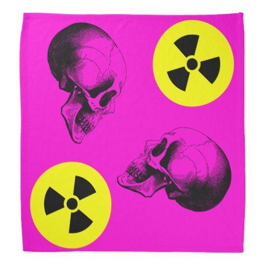 #zazzle #Skulls #Radiation #Sign #Bandana #Pink  #Bandana #head #gift #giftidea