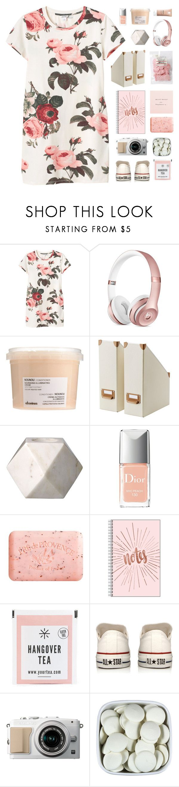 """""""「10.」"""" by moonbeam-s ❤ liked on Polyvore featuring Monki, Davines, Christian Dior, Pré de Provence, Converse and La Roche-Posay"""