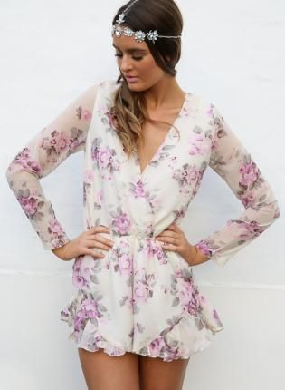 White Lilac & Green Flower Print Playsuit,  Other, floral print  romper, Bohemian (Boho) / Hippie