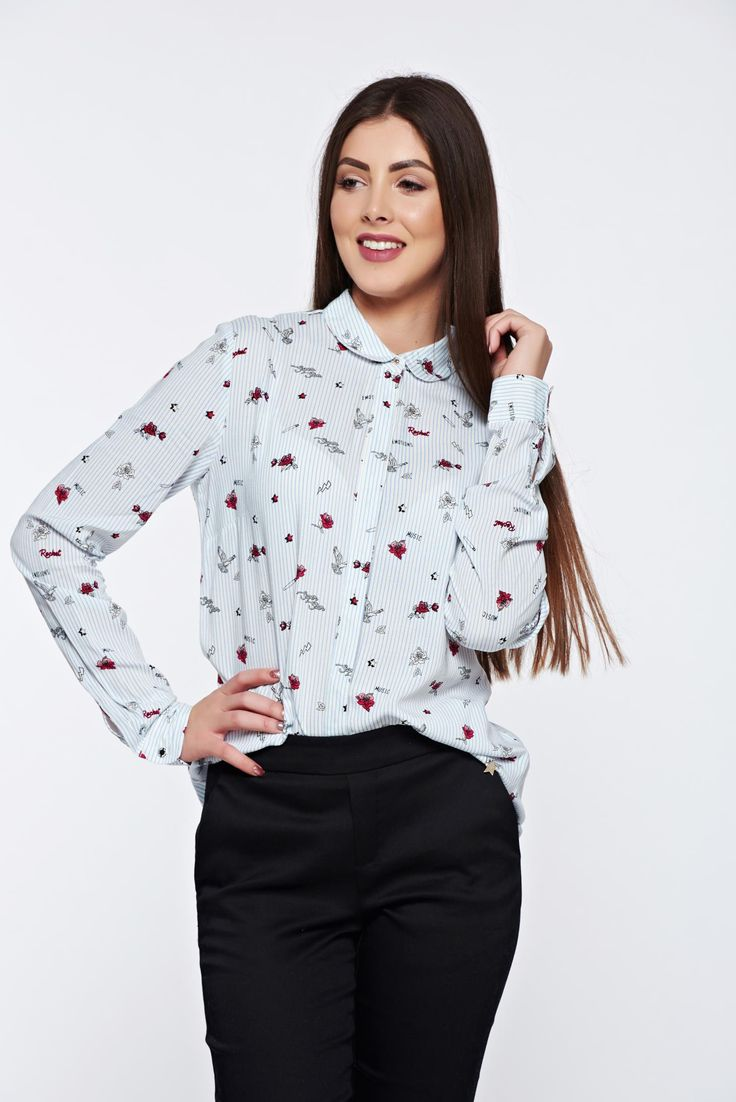 Top Secret white women`s shirt casual flared with round collar, round collar, graphic print, long sleeves, soft fabric, nonelastic fabric, slightly transparent fabric, with buttons