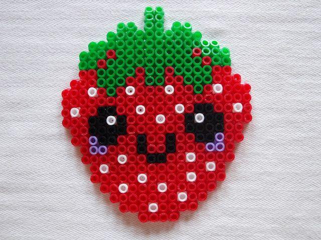 Bügelperlen-Vorlage: Erdbeere | kiki - Die Kinderkiste