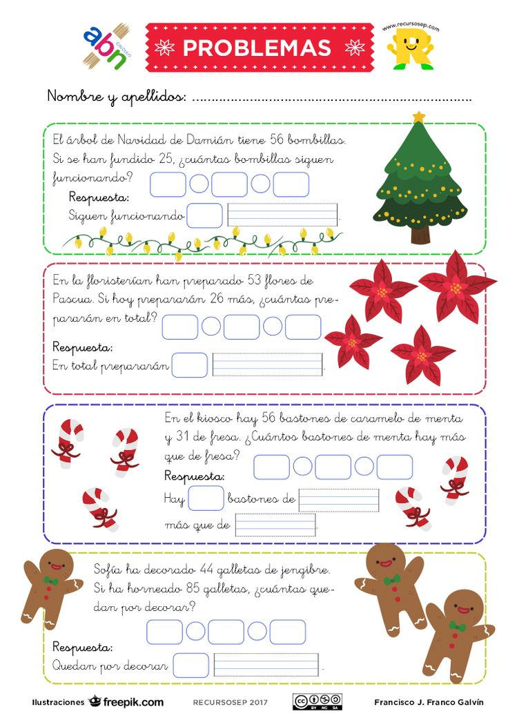 Buenos días. En la entrada de hoy tenéis una ficha muy navideña en la que realizaremos 4 problemas de sumar y restar con esta temática. La ficha se presenta en tres versiones: para primero de prima…