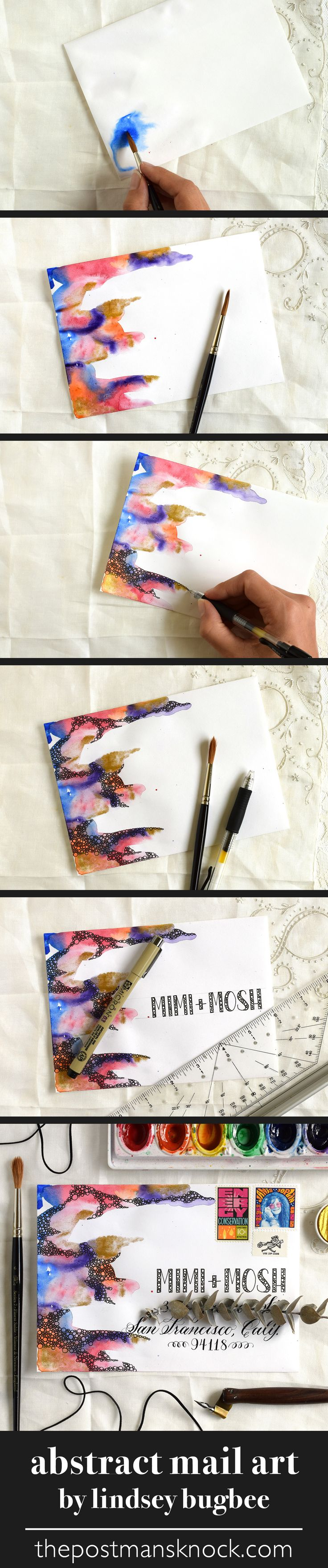 Funky, colorful abstract mail art made with watercolor + a gel pen by Lindsey Bugbee