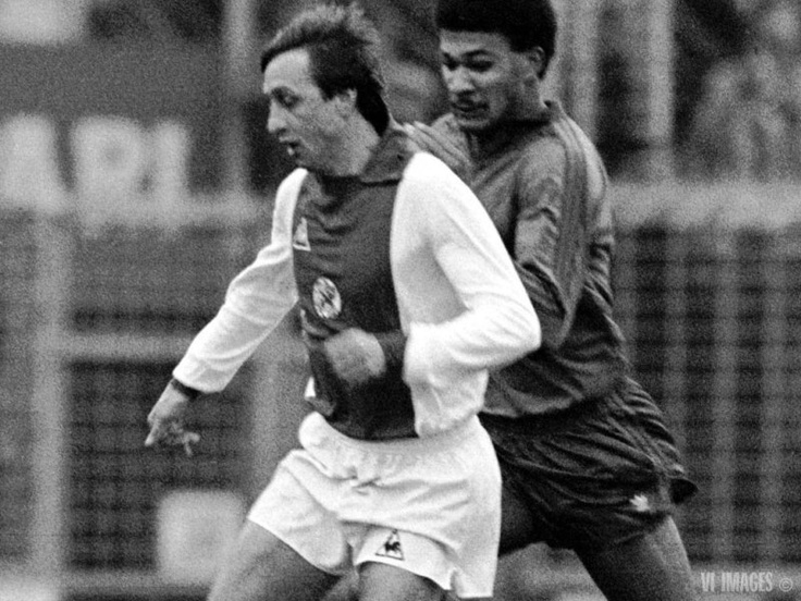 A very young Ruud Gullit for Haarlem against Cruijf's Ajax.