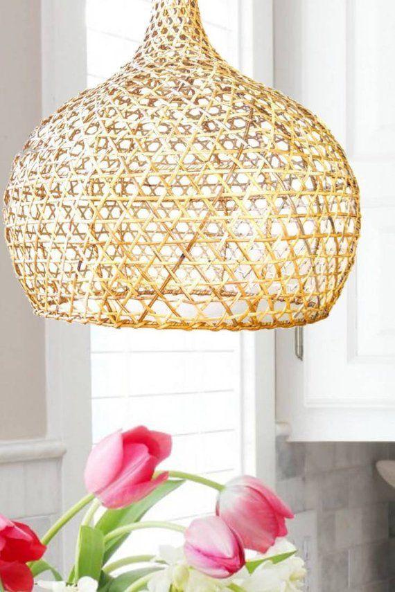 24 Rattan Pendant Light Woven Open Weave Bamboo Lamp Shade Woven