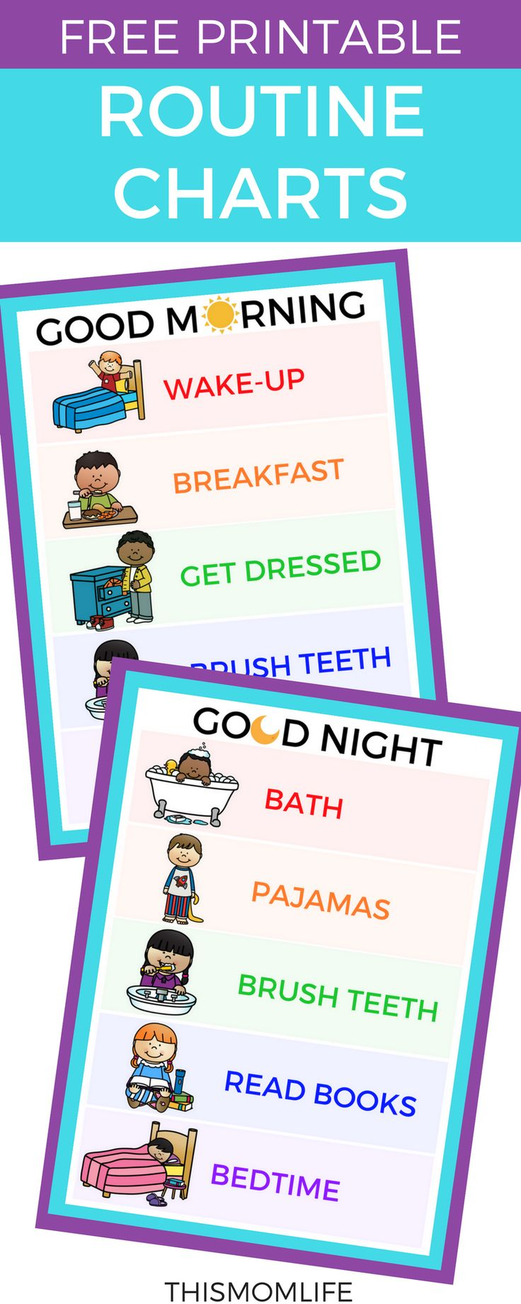 Free printable routine charts and chore charts for kids. Morning, Night, Toddler, Bedtime, After School, Daily, Evening.