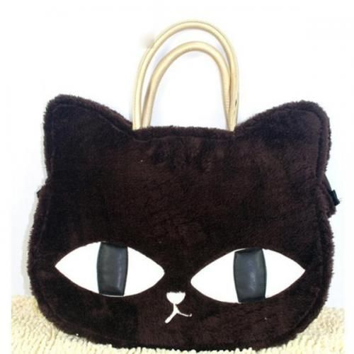Coffee Faux Fur Cover Cat Shape Cute Bag