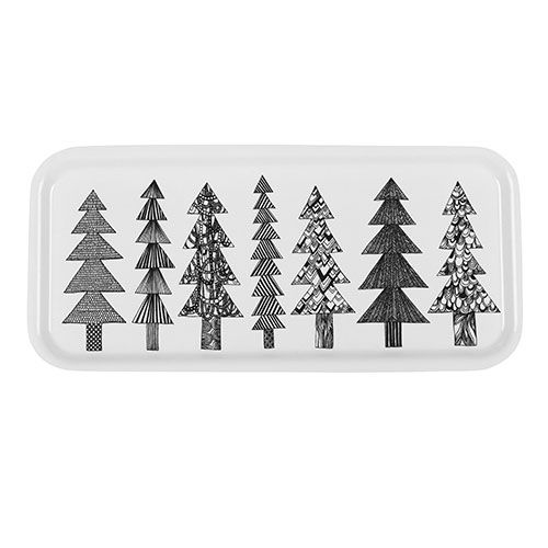 Seven adorable trees lineup for a wintry and whimsical pattern. Marimekko Kuusikossa White/Black Tray - $38.50