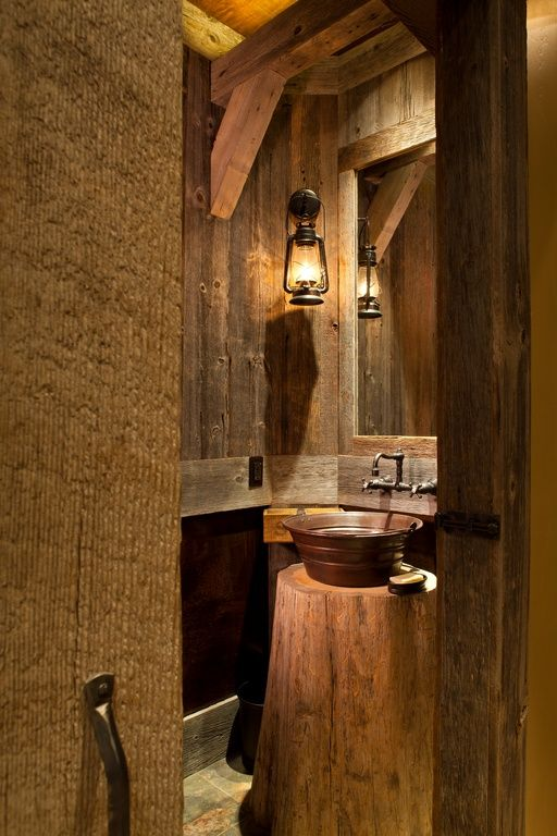 Rustic Powder Room With Pendant Light Vessel Sink Slate Tile Floors Powder Room Handcrafted