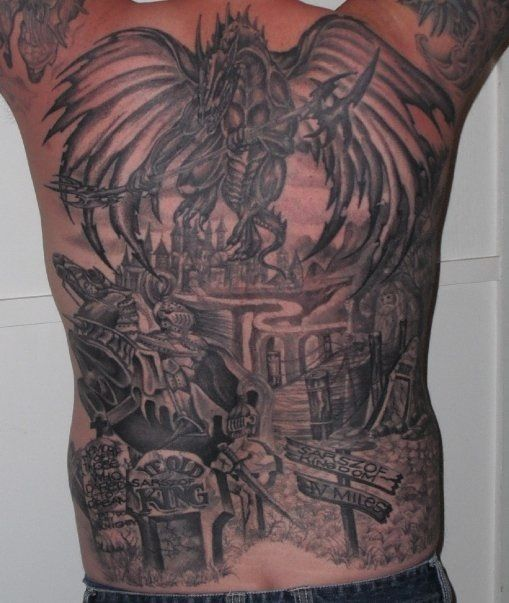 Back Tattoo. Dragon. Knight. Castle.