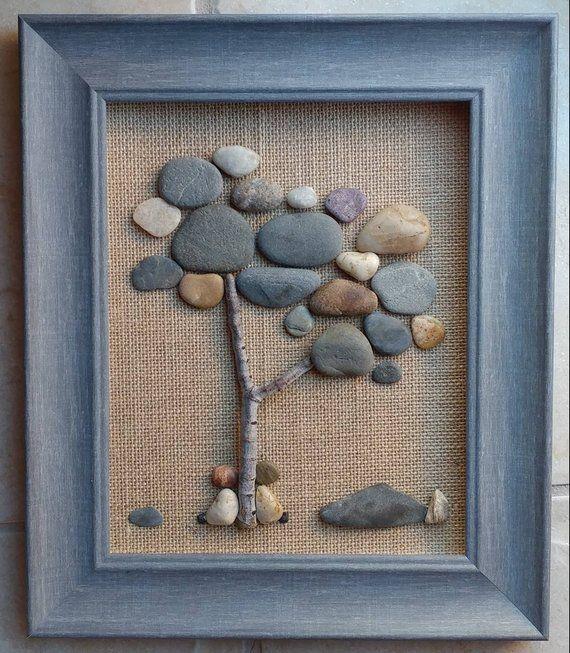 """Pebble Art, Rock Art, Pebble Art paar, Rock Art paar, Geschwister sitzen am Baum, 8 x 10 """"offenen"""" Rahmen (kostenloser Versand)"""