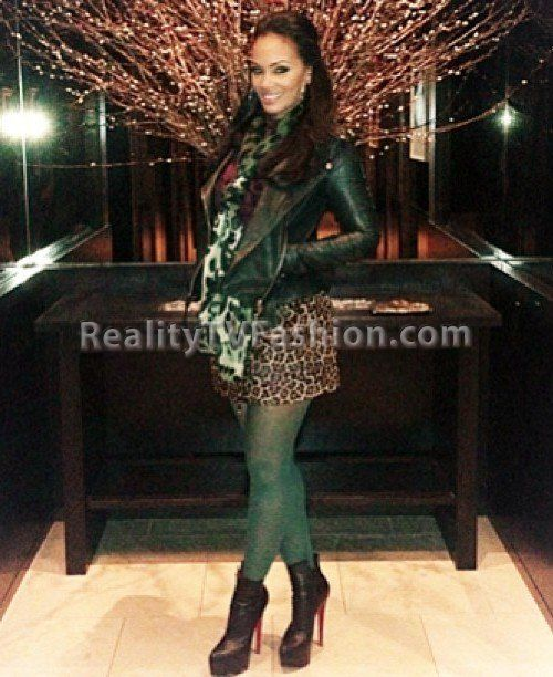 "Evelyn Lozada's Kenna-T Cropped Leather Biker Jacket, DKNY Green Tights, & DVF Melissa Haircalf Skirt on ""Basketball Wives..."