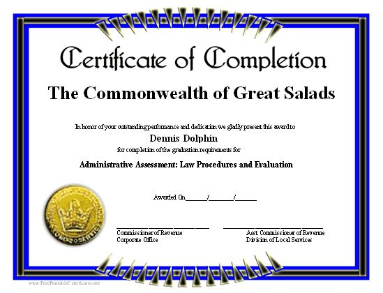 a blue and black bordered certificate of completion with a gold seal free to download and print calendars templates certificate certificate of