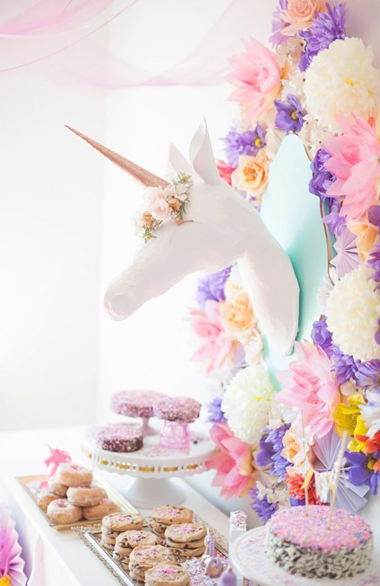 Pastel unicorn party for your girls birthdays, teen princesses or baby showers. Love the soft feel with the decorated pompom wall