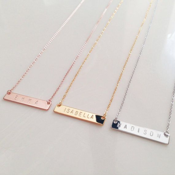 Gold Name Bar Necklace, Dainty Name Necklace, Initial Necklace, Bridesmaid Gift…