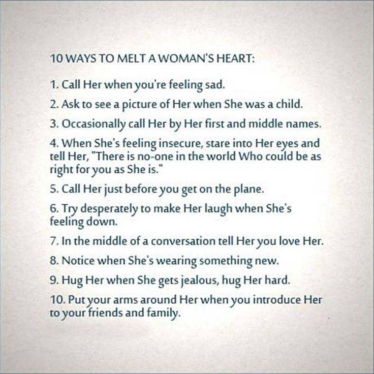 10 ways to win a women's heart Words of Wisdom Pinterest