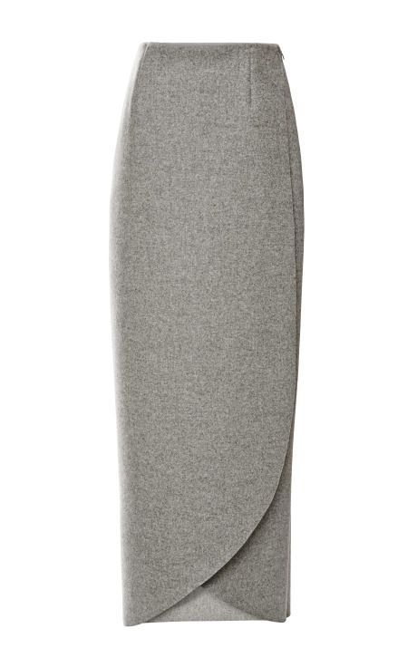 Shop Wrap Wool-Flannel Maxi Skirt by Rosie Assoulin Now Available on Moda Operandi