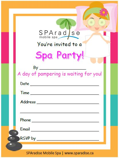 22 best spa party printables images on pinterest mobile spa spa free printable spa party invitation by sparadise mobile spa reheart Choice Image