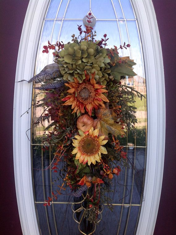 Fall Teardrop Vertical Door Swag by AnExtraordinaryGift on Etsy