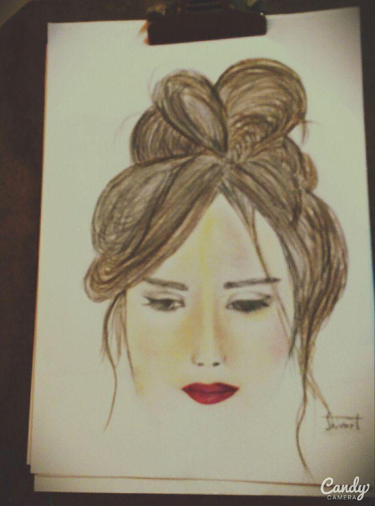 color pencil- girl-face-shivart
