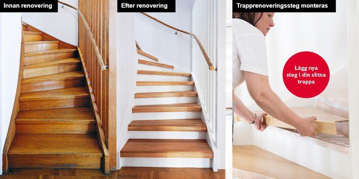 Trapprenovering - före/efter - Montering av trapprenoveringssteg Se hela guiden på: http://www.lundbergs.com/sv-se/guider/renovera-trappan