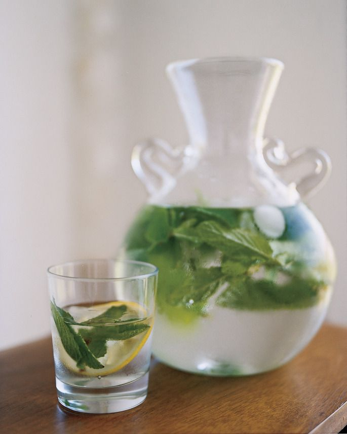 ... domino.com. Made with fresh mint leaves, hot water, honey, lemon, ice