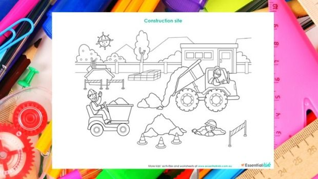Construction site free printable colouring in page http://www.essentialkids.com.au/activities/colouring-pages/construction-colouring-page-20160105-glzrsx