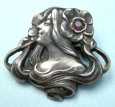 Unger Brothers sterling silver antique Art Nouveau brooch, bust of woman
