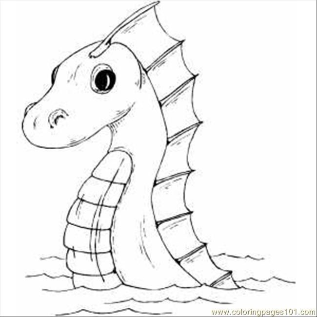 Sea Serpent Printable Coloring Page For Kids And Adults Dragon