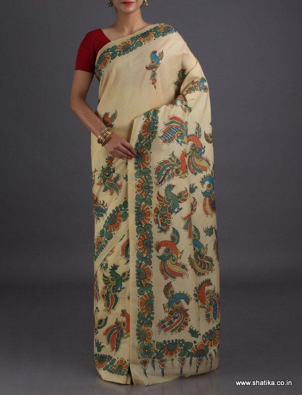 Aaliya Royal Peacocks Premier Naturally Dyed #HandPainted #KalamkariPureSilkSaree