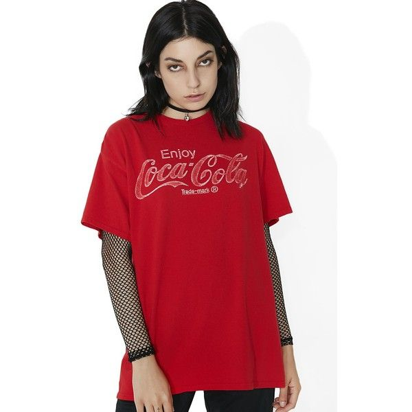 Junk Food Clothing Coca Cola Graphic Tee ($35) ❤ liked on Polyvore featuring tops, t-shirts, red t shirt, crew neck tee, graphic t shirts, faded red t shirt and crew neck tops